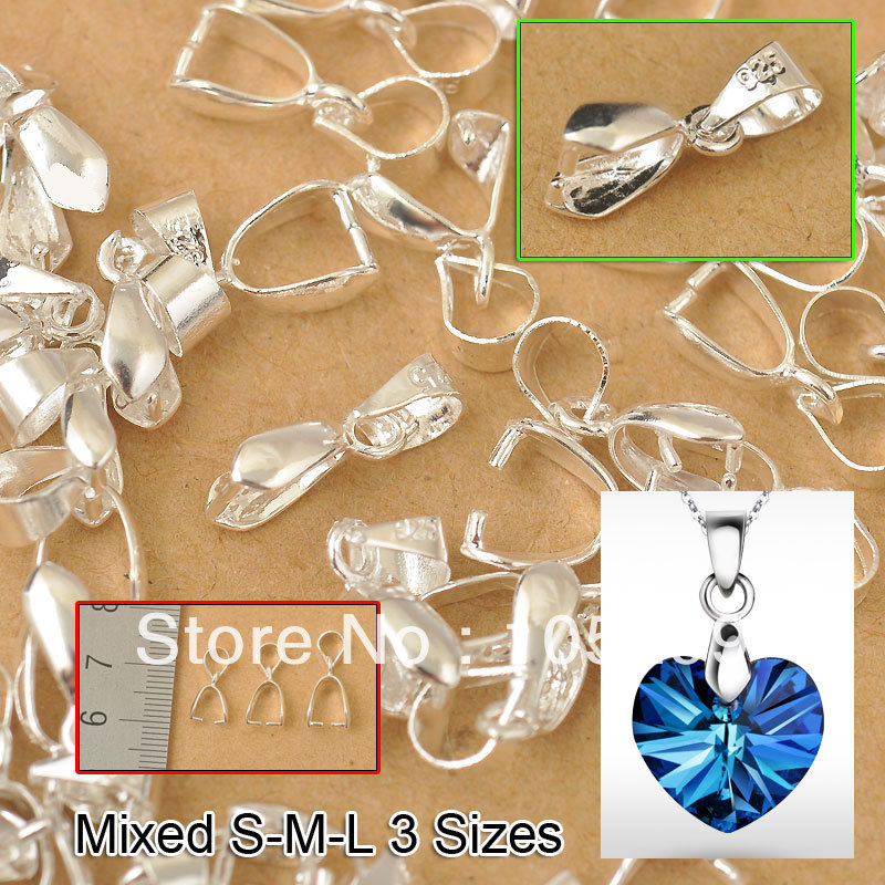 Free Shipping 60PCS 3 Size S-M-L 925 Sterling Silver Findings Bail Connector Bale Pinch Clasp Pendant Fittings Bail