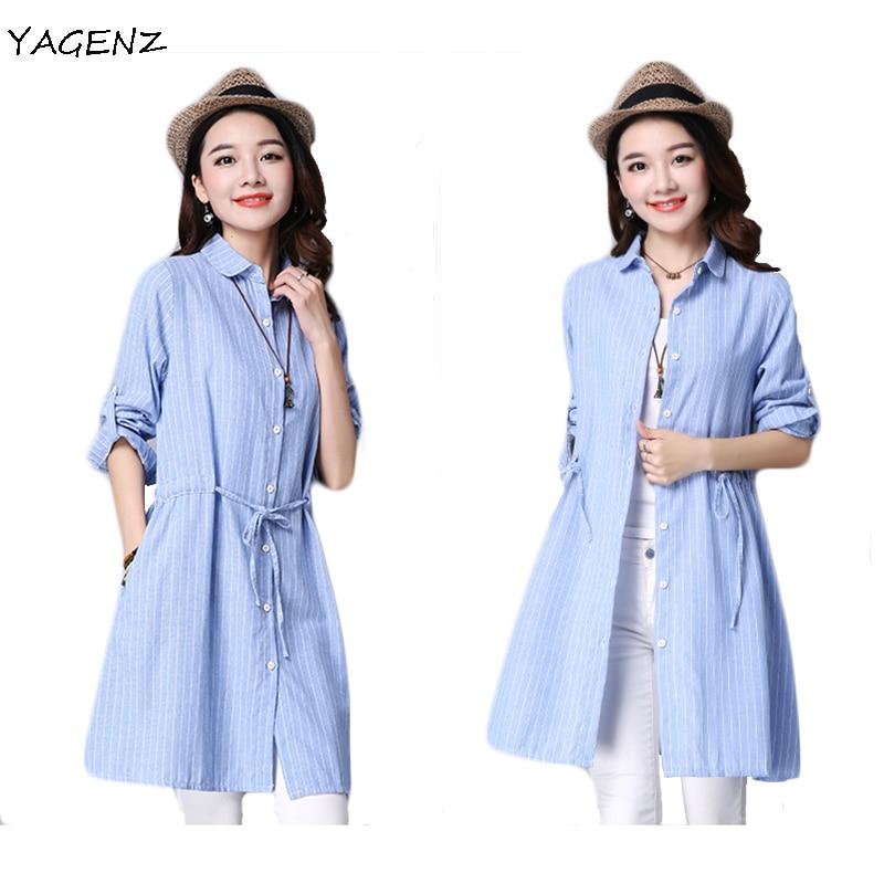 Eleganta skjorta klänningar kvinnor sommar bomull linne lös skjorta - Damkläder