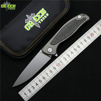 Green Thorn F95 Flipper Folding Knife Bearing D2 Blade TC4 Titanium Carbon Fiber Handle Outdoor Camping