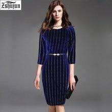Spot New Spring and Autumn Women's dress Three Quarter Sleeve pocket Hip work dress printing Big size dress Free give belt A2066