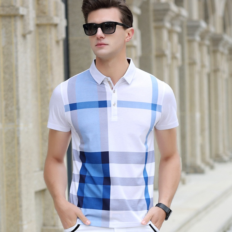 Image 2 - Men Polo Shirt Hot Sale New plaid 2019 Summer Fashion classic casual tops Short Sleeves Famous Brand Cotton Skull High qualitybrand men polo shirtmen brand polo shirtmens fashion polo shirts -