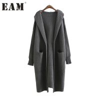 EAM 2018 New Spring Round Neck Half Sleeve Solid Color Gray Apricot Thickening Knittig Sweater