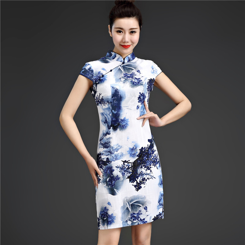 Sheng Coco 5XL Chinese Traditional Dress Printing Elasticity Flax Cotton Chinese Qipao Short Improvement Elastic Force Cheongsam