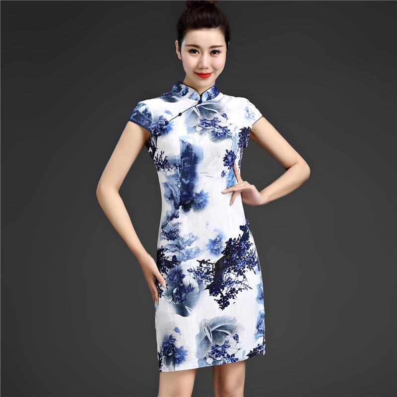 Sheng Coco 5XL Chinese Traditional Dress Printing Elasticity Flax Cotton Chinese Qipao Short Improvement Elastic Force Cheongsam