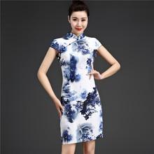 Sheng Coco 5XL Chinese Traditional Dress Printing Elasticity Flax Cotton Chinese Qipao Short Improvement Elastic Force Cheongsam цены онлайн