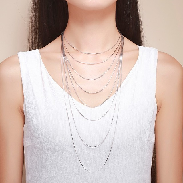 "14""-32"" Real 925 Sterling Silver Slim Thin Snake Chain Necklace Women Kids Girls Children Men Jewelry Italy Colier kolye ketting"