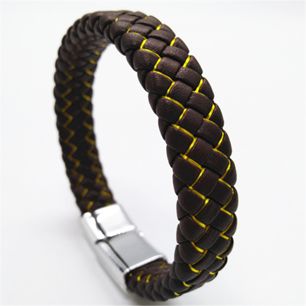 Punk Handmade Men/'s Stainless Steel Leather Bracelet Magnet Clasp Cuff Bangle