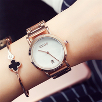 Womens Watches Top Brand Waterproof Fashion Ladies Dress Wristwatch Simple Date Display Dial Clock Golden Watch