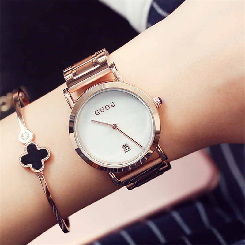 GUOU Womens Watches Waterproof Fashion Dress Ladies Wrist Watch Simple Date Dial Clock Rose Gold Watch Female Pink Black Purple