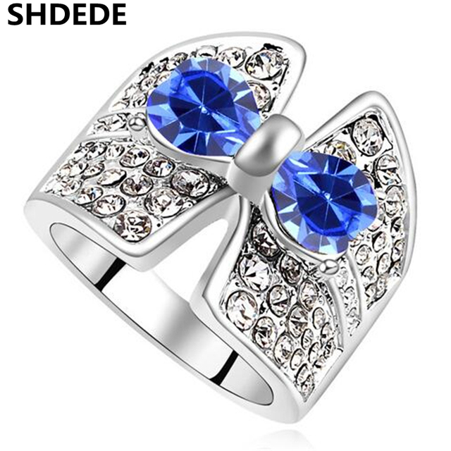 SHDEDE Austrian Crystal Bowknot Rings made with Crystals from