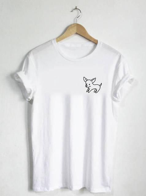 חולצה כלב-O יוניסקס או Womans חולצה חולצת טי-לחיות מחמד צ 'יוואווה אפשרות צוואר-כלב גור גזע ללכת צעצוע מאהב בעלי חיים גרפיים-C003