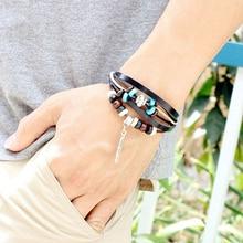 Unisex Vintage Indian Multilayer Braid Wooden Bead Feather Faux Leather Bracelet