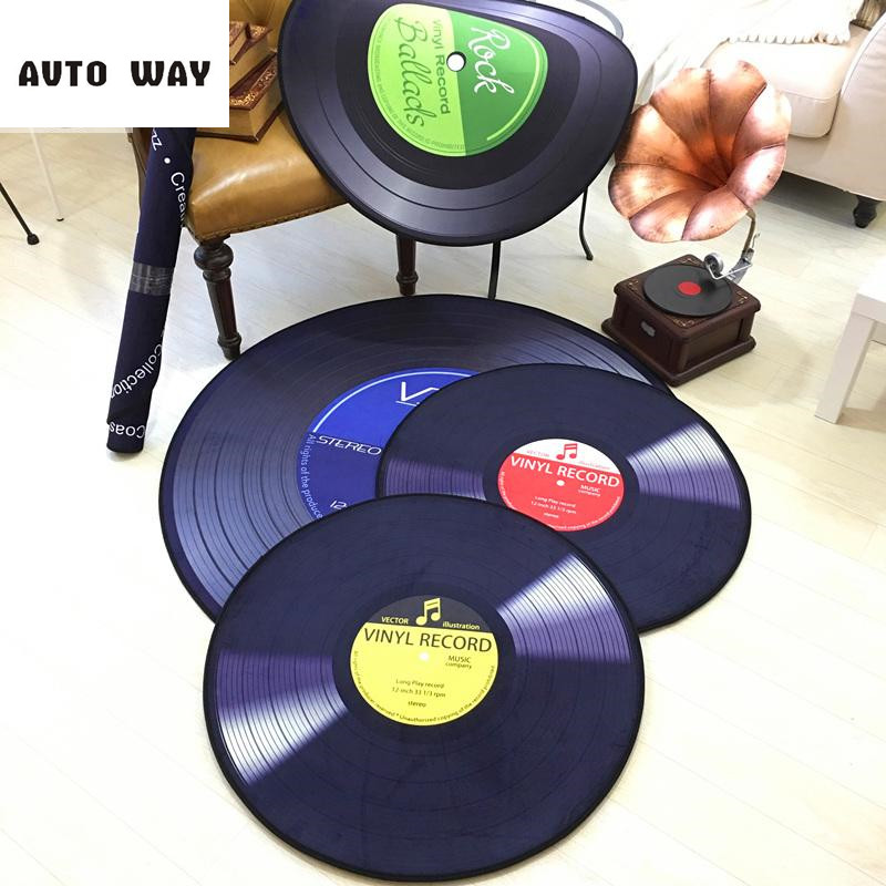 Vinyl Records creative carpet Round mat Retro sofa Chair mat decorative rugs multicolor Super soft short suede floor mat