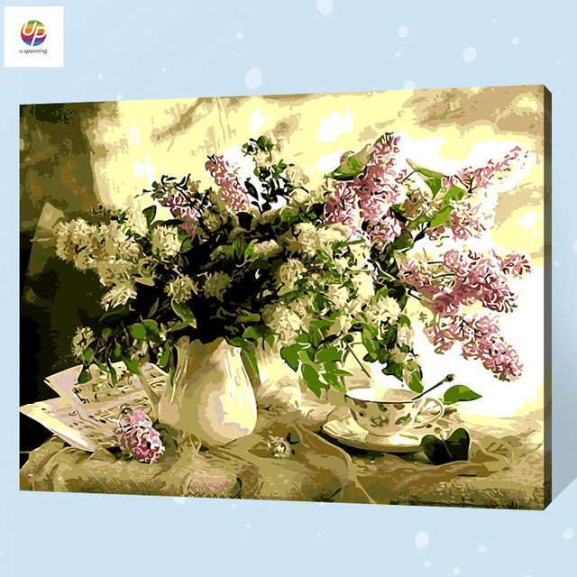 Frameless Digital Oil Painting By Numbers Boom Lilac Vase Acrylic ...