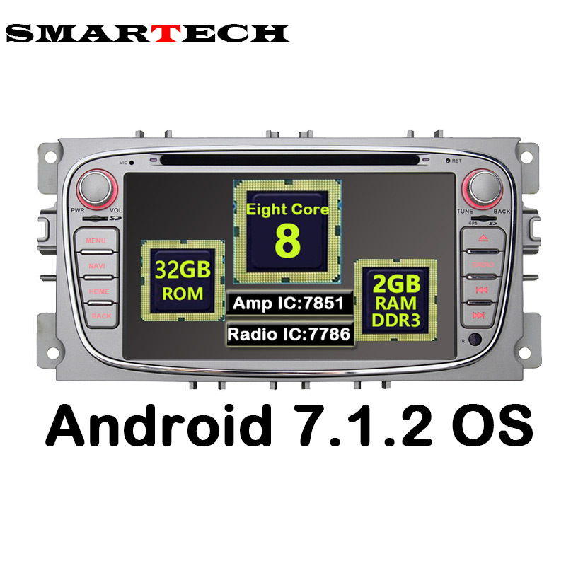 SMARTECH 2Din Android 7.1.2 8Core Car DVD Player For Ford Focus 2 S-max Mondeo Galaxy Audio Radio Stereo Wifi GPS Navigation USB