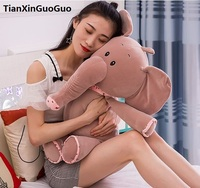 Large 65cm Cartoon Gray Elephant With Scarf Plush Toy Soft Doll Throw Pillow Birthday Gift W2789