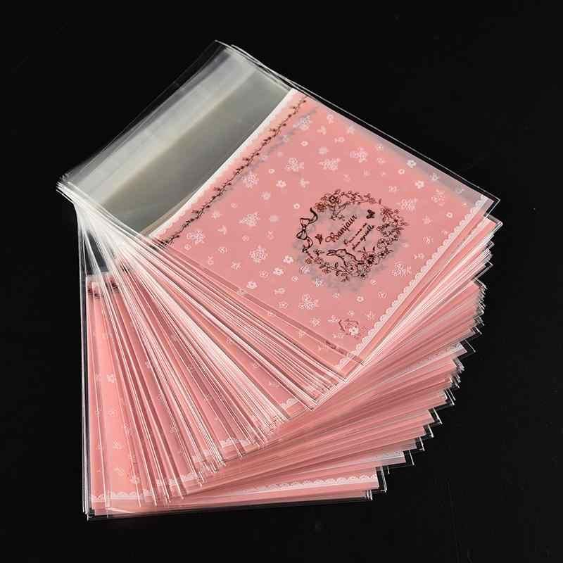 100 Uds bolsa de galletas Feliz Navidad Auto adhesivo galletas de bricolaje paquete Rosa Válvula de regalo de recuerdo