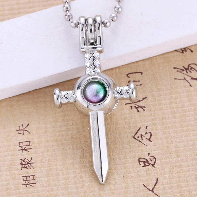 6pcs Silver Sword shape Pearl Cage Jewelry Making Bead Cage Pendant Essential Oil Diffuser Locket For Oyster Pearl Fun Gift