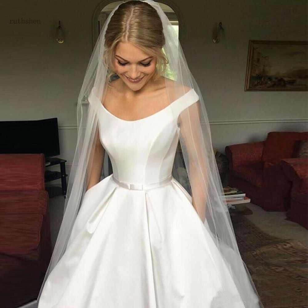 Modest Simple Wedding Dresses Vintage Satin Off The Shoulder A-line Wedding Dress Country Garden Bridal Gown