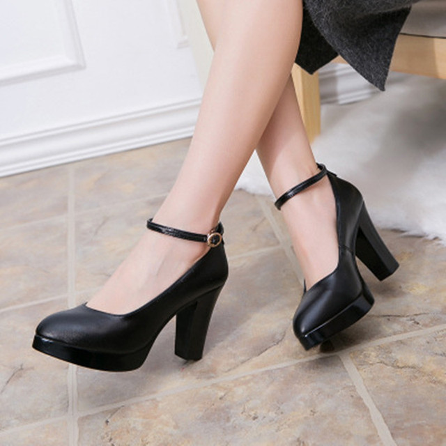c1b6b31e1b9 New 2019 Ankle Buckle Genuine Leather Shoes Women High Heels Pumps Black  Block Heel Work Shoes for Ladies Platform Shoe