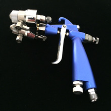 цены SAT1201 air paint spray gun car painting sprayer pressure pneumatic double nozzle spray paint gun chrome spray paint for metal