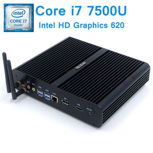 Hystou 7th Gen Kaby Lake Intel Core i7 7500U Fanless Mini PC Windows 10 Linux HD Graphics 620 4K Micro Nettop Computer Minipc
