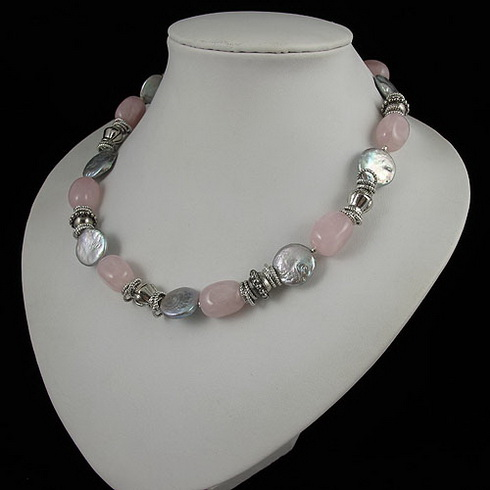 Unique Pearls jewellery Store,Tible Silver Beads Pink Rose Quartz With Gray Coin Freshwater Pearl Necklace,Perfect Women GiftUnique Pearls jewellery Store,Tible Silver Beads Pink Rose Quartz With Gray Coin Freshwater Pearl Necklace,Perfect Women Gift