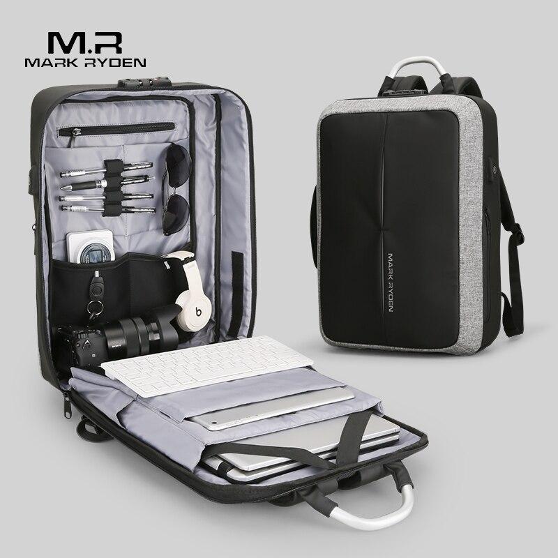 Men Backpack TSA Lock-Design Mark Ryden Anti-Thief Business Travel Recharging Fashion