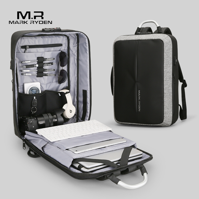 Mark Ryden mochila antirrobo con recarga USB para hombre, morral con diseño de bloqueo TSA sin llave, a la moda, para negocios y viajes