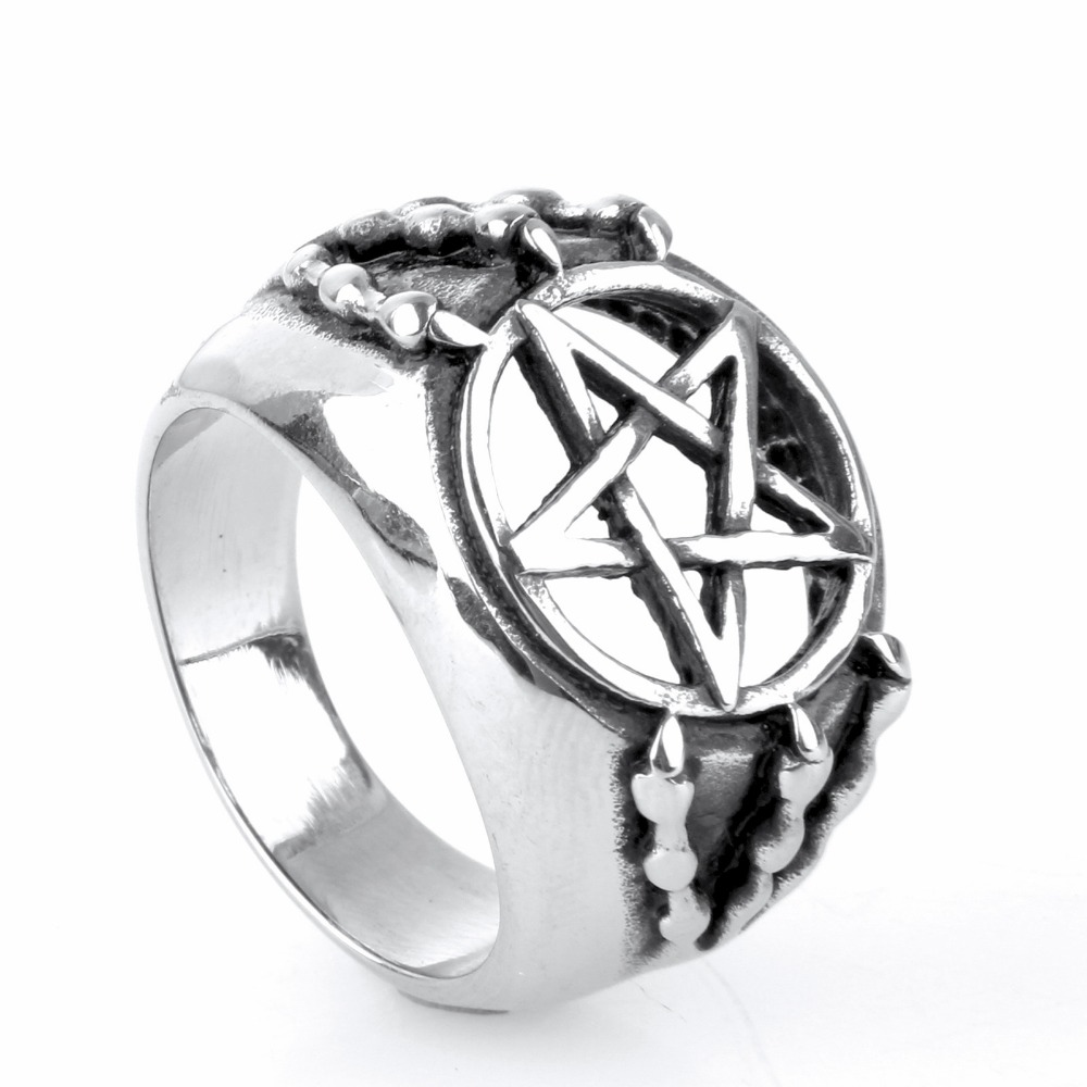 Stainless steel ring Men act the role ofing is tasted Punk titanium steel talons pentagram ring