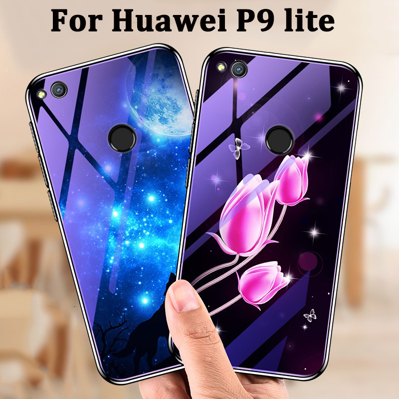 ᗕ2017 For Huawei P9 lite case cover cartoon blue Tempered Glass ...