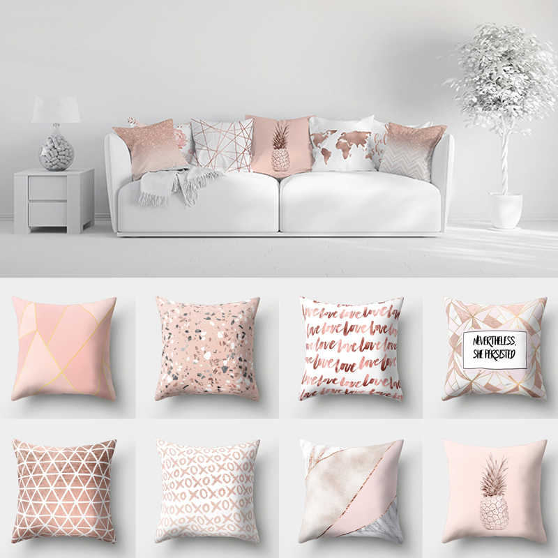 rose gold pink cushion cover square pillowcase home decoration geometric pattern shiny pillow covers throw pillows