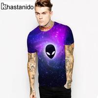 Khastanido 2017 nieuwe ruimte alien head 3d print tops mannen workout paars t-shirt casual paar kleding camisetas hombre homem