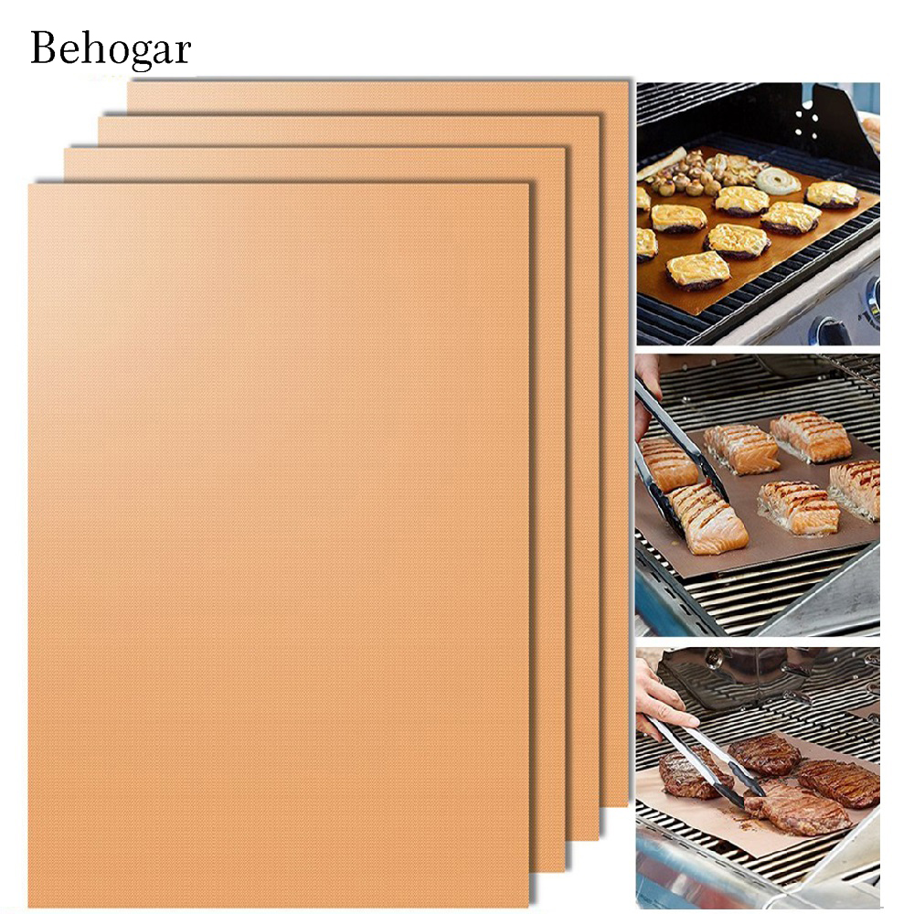 Behogar 2pcs Copper Chef BBQ Grill Bake Nonstick Baking High Temperature Outdoor Barbecue Grill Mat and Bake Mats Cooking Tools ...