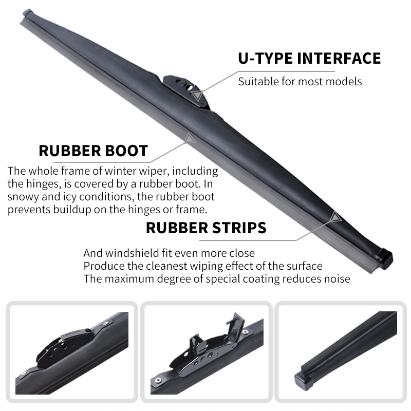 Image 3 - Winter Snow Wiper Blade U Hook Universal High Quality Natural Rubber Windshield Windscreen Auto Car Accessories 1 Pc-in Windscreen Wipers from Automobiles & Motorcycles