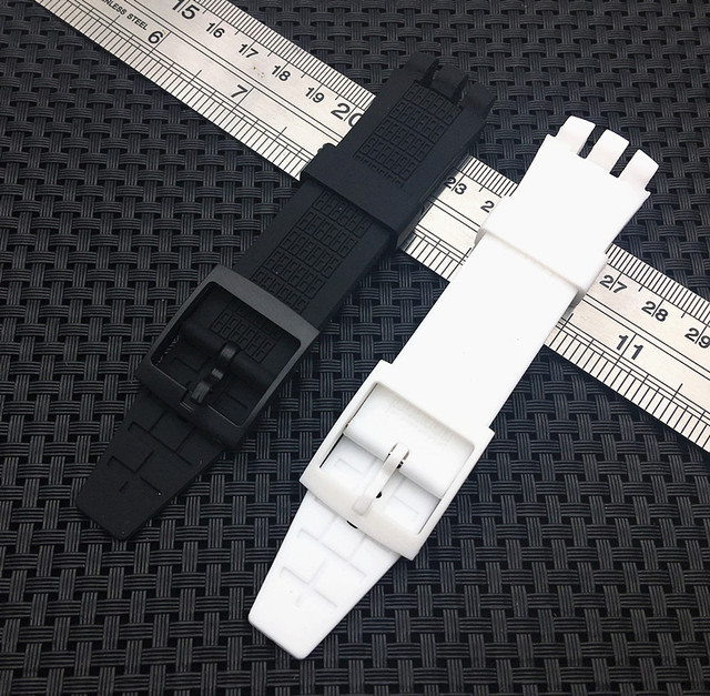 High Quality Black white Diving 20mm*24mm Silicone Rubber Watchband For Swatch R