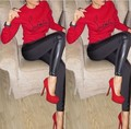 2016 new style women's set red& black winter 2 piece women keep warm set tracksuit conjunto feminino saia e blusa letter