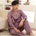 Noble Pijamas Para Hombres de Manga Larga de Satén de Seda ropa de Dormir Pijamas Para Hombre Conjuntos Más El Tamaño 3XL