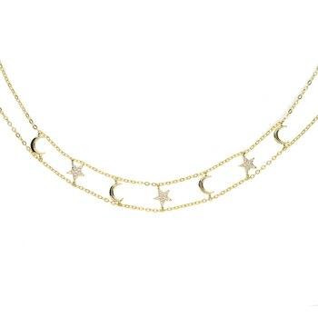 7a99b6f60a63 Multi-capa collares luna y estrella colgante collar para mujer de fiesta  para mujeres de plata de moda chapado en oro estrellas DaWanda joyas y  bisutería ...