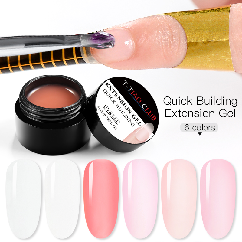 8ml Poly Quick Extension Nail Gel Polish Pink Clear Nude UV LED Builder Gel Tips Soak off Building Nails Art Soak off Decoration in Nail Gel from Beauty Health