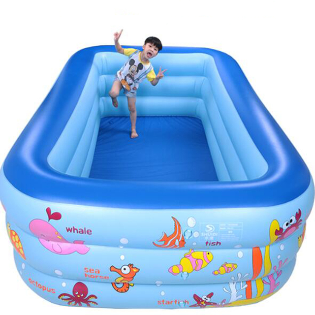 250cm rectangle 3 ring kids inflatable pool baby swimming pool family children inflatable swimming pool indoor