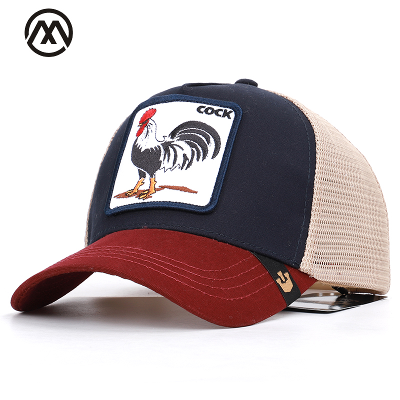 Summer Animal Embroidery   Baseball     Caps   Men's and Women's Universal Adjustable Shade Cock Mesh   Cap   Dad Hat Truck Driver hats bone