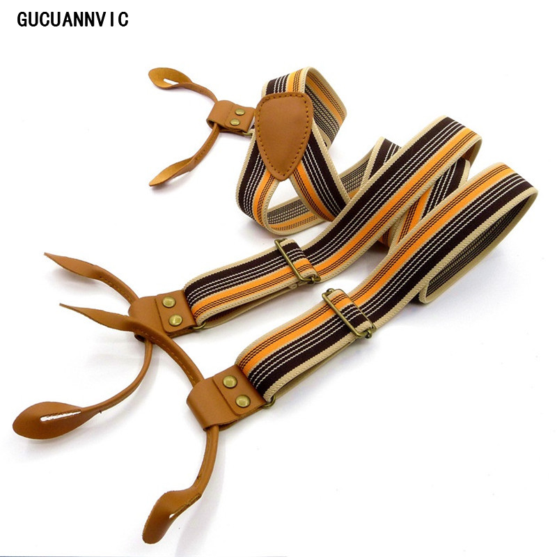 GUCUANNVIC Vintage Stripes Men's Suspenders Casual Fashion Braces High Quality Leather Suspenders Adjustable 6 Buttons Belt