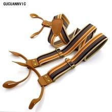 SGUCUA Vintage stripes Men's suspenders casual Fashion braces High quality leather suspenders Adjustable 6 buttons Belt Strap