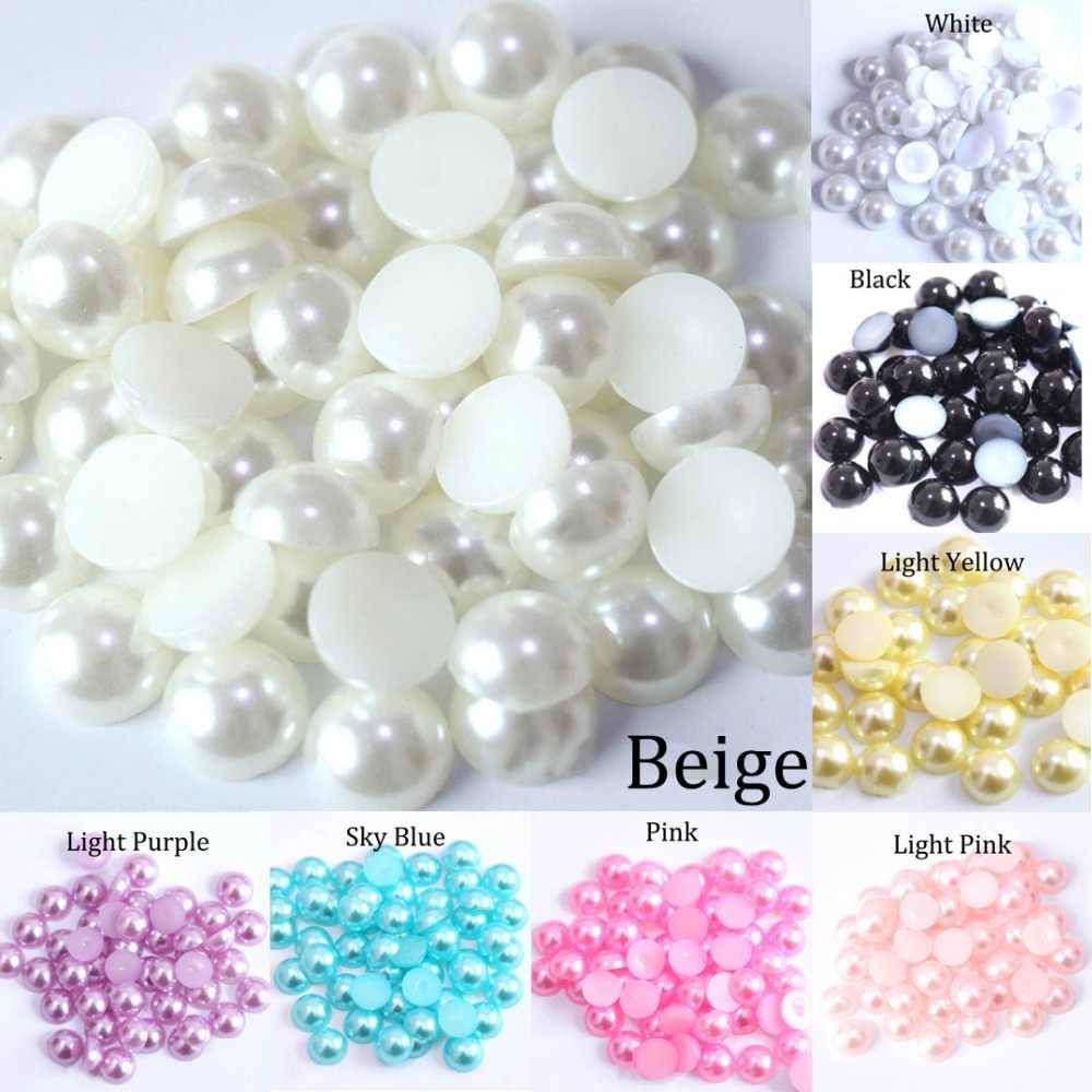 Imitation ABS Pearl Beads Flat Back 2 3 4 5 6 8 10 12 14mm Black White Cabochon Half Round Bead Scrapbook Decoration DIY Jewelry