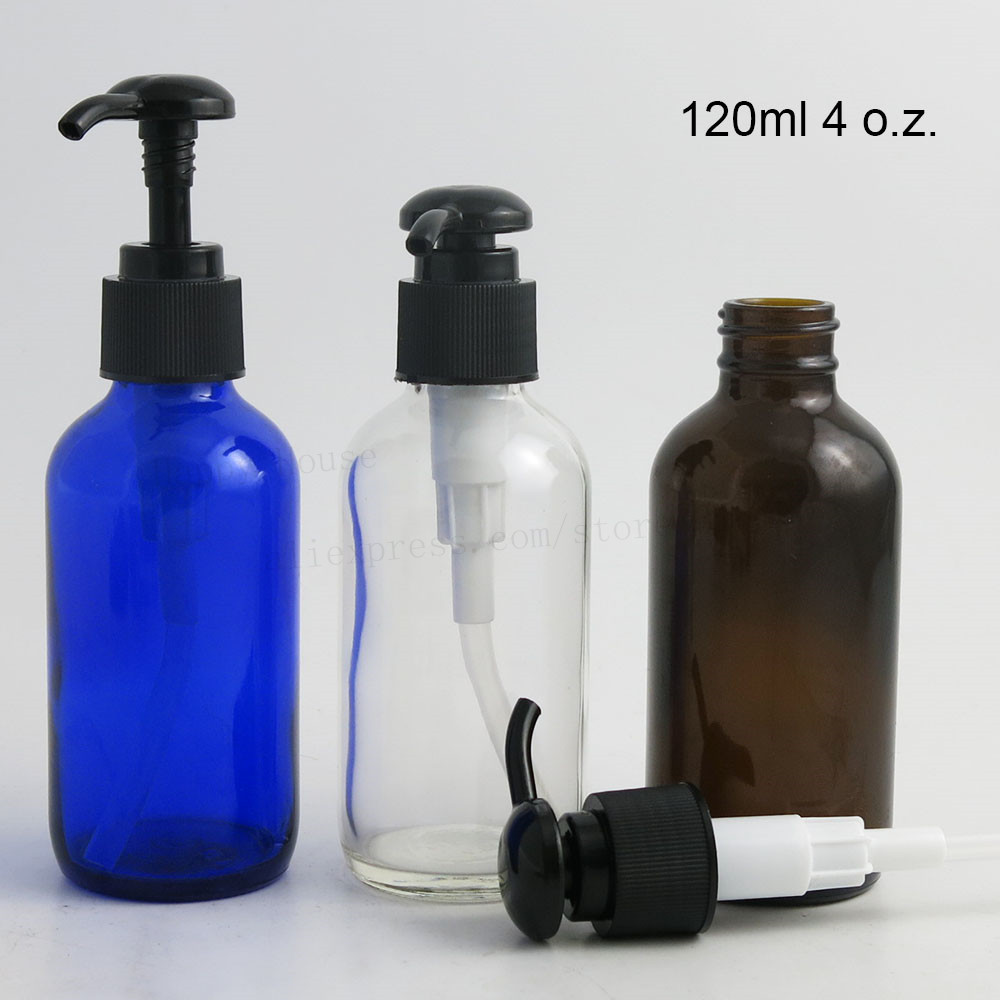 6 x Large 120ml Cobalt Blue Dark Amber Clear Glass Lotion Pump Bottle 4oz Refillable Liquied Comestic Packaging Glass Container 10 50pcs 18 24r white black clear plastic powder press pump head nozzle for cosmetic lotion emulsion bottle with clear full cap