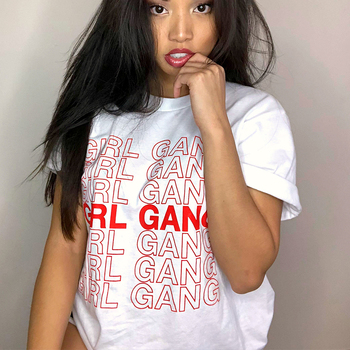 Girl Gang Women T Shirt Girl Power Aesthetic Feminism Feminist Tumblr TShirt Hipster Grunge Instagram Pinterest Casual Tops Tee rose