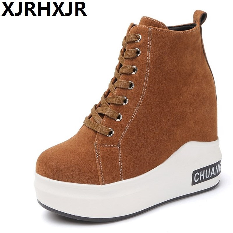 10.5CM Suede Winter Boots Women Platform Ankle Boots Casual Wedge Heels  Creepers Woman Fashion Inner. US  25.49. XJRHXJR Brand Women Boots Canvas Lace  Up ... ffa4c1fff533