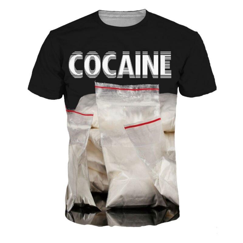 New 3D T Shirt Men Women Fashion COCAINE Bag Printed Short Sleeve T-shirt Brand Slim Fit Elastic Tee Shirt Tshirt