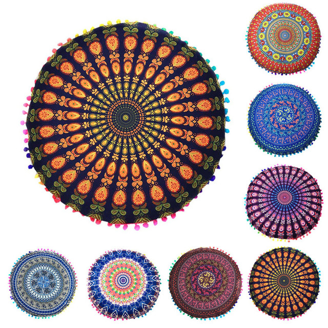 Bahemian mandala flower Floor Pillow covers zipper Round cushion ...